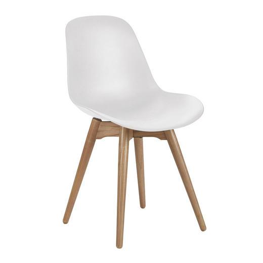 STUHL Eichefarben, Weiß - Eichefarben/Weiß, Trend, Holz/Kunststoff (51/82/52cm) - Ambia Home