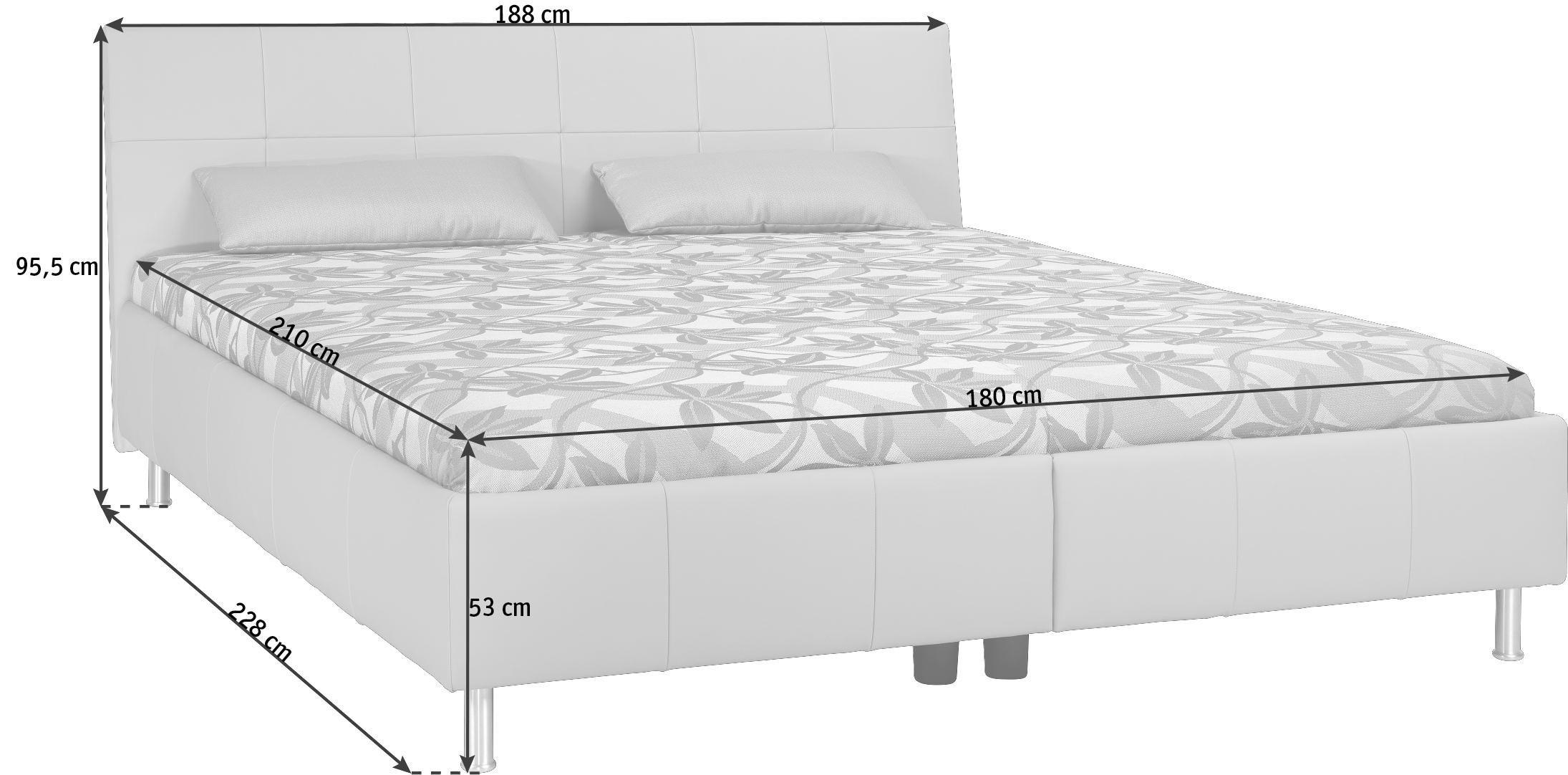 POLSTERBETT 180/210 cm - Alufarben/Grau, KONVENTIONELL, Leder/Textil (180/210cm) - ADA AUSTRIA