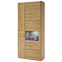 VITRÍNA, barvy dubu - šedá/barvy dubu, Konvenční, kov/dřevěný materiál (94/206/39cm) - Cantus