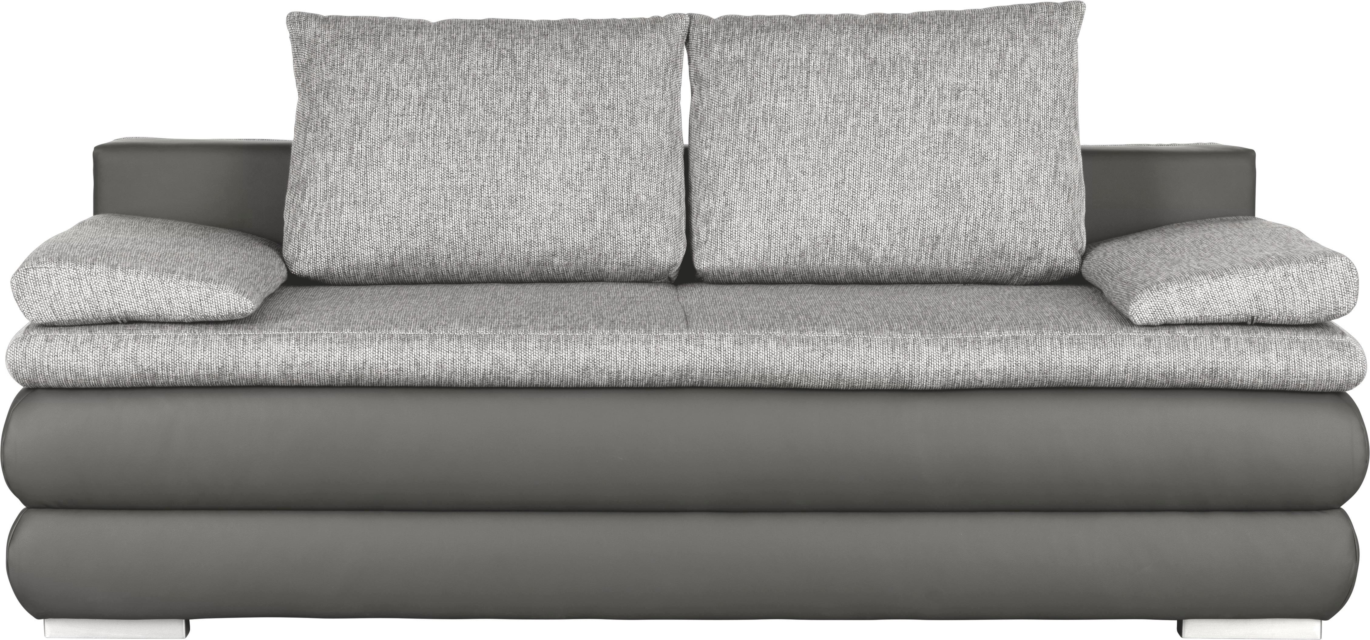 BOXSPRINGSOFA Lederlook Grau - Silberfarben/Grau, KONVENTIONELL, Holz/Textil (210/90/110cm) - VENDA
