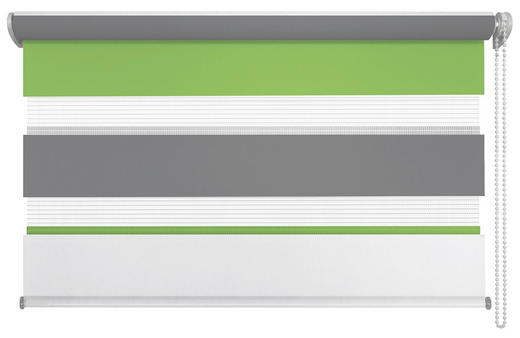 DUOROLLO  halbtransparent   60/160 cm - Weiß/Grau, Basics, Textil (60/160cm)