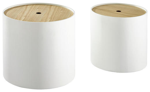 SATZTISCH Paulownia furniert rund Eichefarben, Weiß - Eichefarben/Weiß, Design, Holz (45/37,5/40/35/45/37,5cm) - Xora