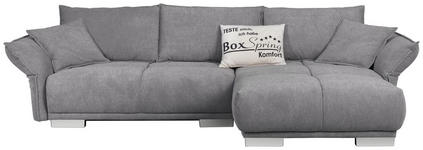 WOHNLANDSCHAFT in Textil Grau - Chromfarben/Grau, MODERN, Kunststoff/Textil (310/203cm) - Hom`in