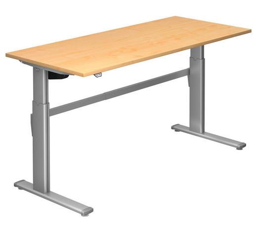 SCHREIBTISCH - Silberfarben/Ahornfarben, Design, Holzwerkstoff/Metall (180/72-119/80cm)