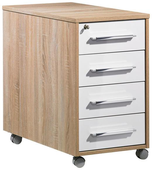 ANSTELLCONTAINER Eichefarben, Weiß - Eichefarben/Silberfarben, Design, Kunststoff/Metall (43/75/80cm)