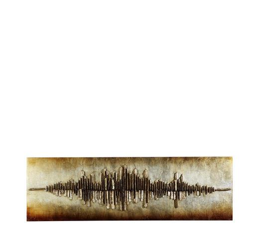 OBRAZ, abstraktní, struktury,  - černá/barvy stříbra, Design, dřevo (55/180cm) - Monee