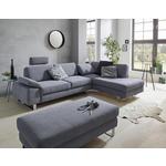 WOHNLANDSCHAFT in Holz, Textil Grau  - Chromfarben/Grau, Design, Holz/Textil (198/274cm) - Venda