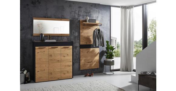 SCHUHSCHRANK 127/126/37 cm  - Eichefarben/Schwarz, Design, Holz/Metall (127/126/37cm) - Dieter Knoll