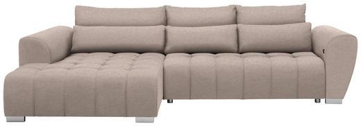 WOHNLANDSCHAFT in Textil Beige - Beige/Silberfarben, MODERN, Kunststoff/Textil (218/304/cm) - Carryhome