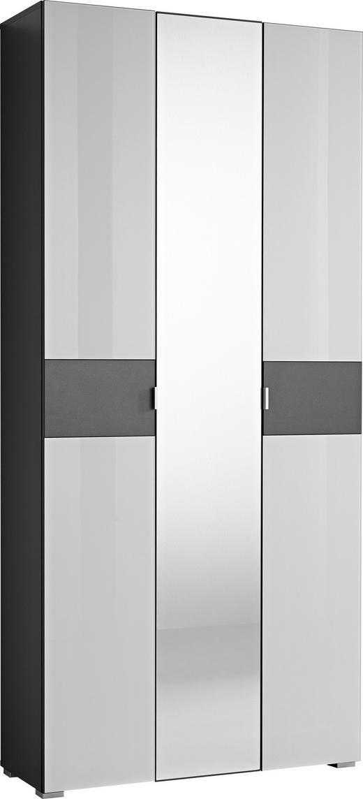 GARDEROBENSCHRANK Anthrazit, Weiß - Anthrazit/Alufarben, Design, Glas/Holzwerkstoff (88/197/34cm) - Xora