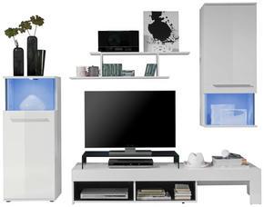 HYLLKOMBINATION - vit/silver, Design, glas/träbaserade material (228/183/47cm) - Low Price