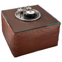 HOCKER Echtleder Braun - Schwarz/Braun, Design, Leder (63/41/63cm) - Wischi Black Label