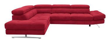 WOHNLANDSCHAFT Rot  - Chromfarben/Rot, Design, Textil (291/226cm) - Novel