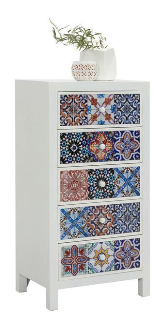 KOMODA, bela, večbarvno - bela/večbarvno, Design, leseni material/keramika (57/110/38cm) - Ambia Home