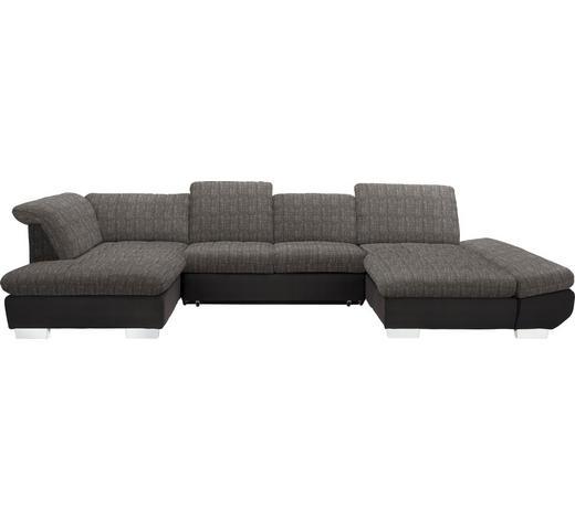WOHNLANDSCHAFT in Textil Braun, Hellbraun - Chromfarben/Hellbraun, Design, Kunststoff/Textil (211/350/204cm) - Xora