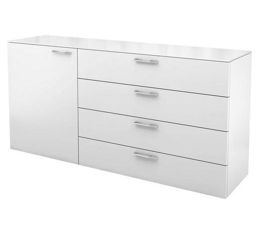 KOMMODE Hochglanz, lackiert Weiß  - Chromfarben/Weiß, Basics (160/77,7/40,1cm) - Hülsta