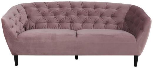 DREISITZER-SOFA Velours Altrosa - Altrosa/Schwarz, Trend, Textil (191/84/78cm) - Ambia Home