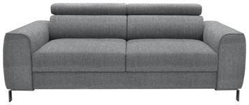DREISITZER-SOFA Webstoff Grau - Chromfarben/Grau, Design, Textil/Metall (199/76-96/98cm) - Hom`in