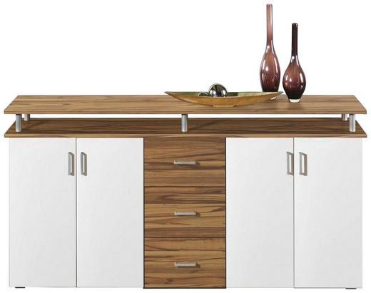 KOMMODE Eichefarben, Weiß - Eichefarben/Silberfarben, KONVENTIONELL, Holzwerkstoff/Kunststoff (178/90/38cm) - Carryhome