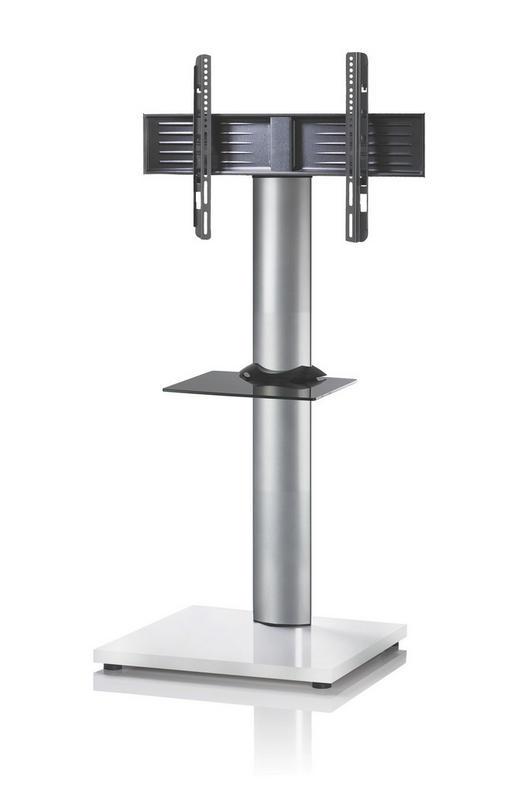 TV-RACK Glas, Metall Silberfarben, Weiß - Silberfarben/Weiß, KONVENTIONELL, Glas/Metall (68/130/54cm)
