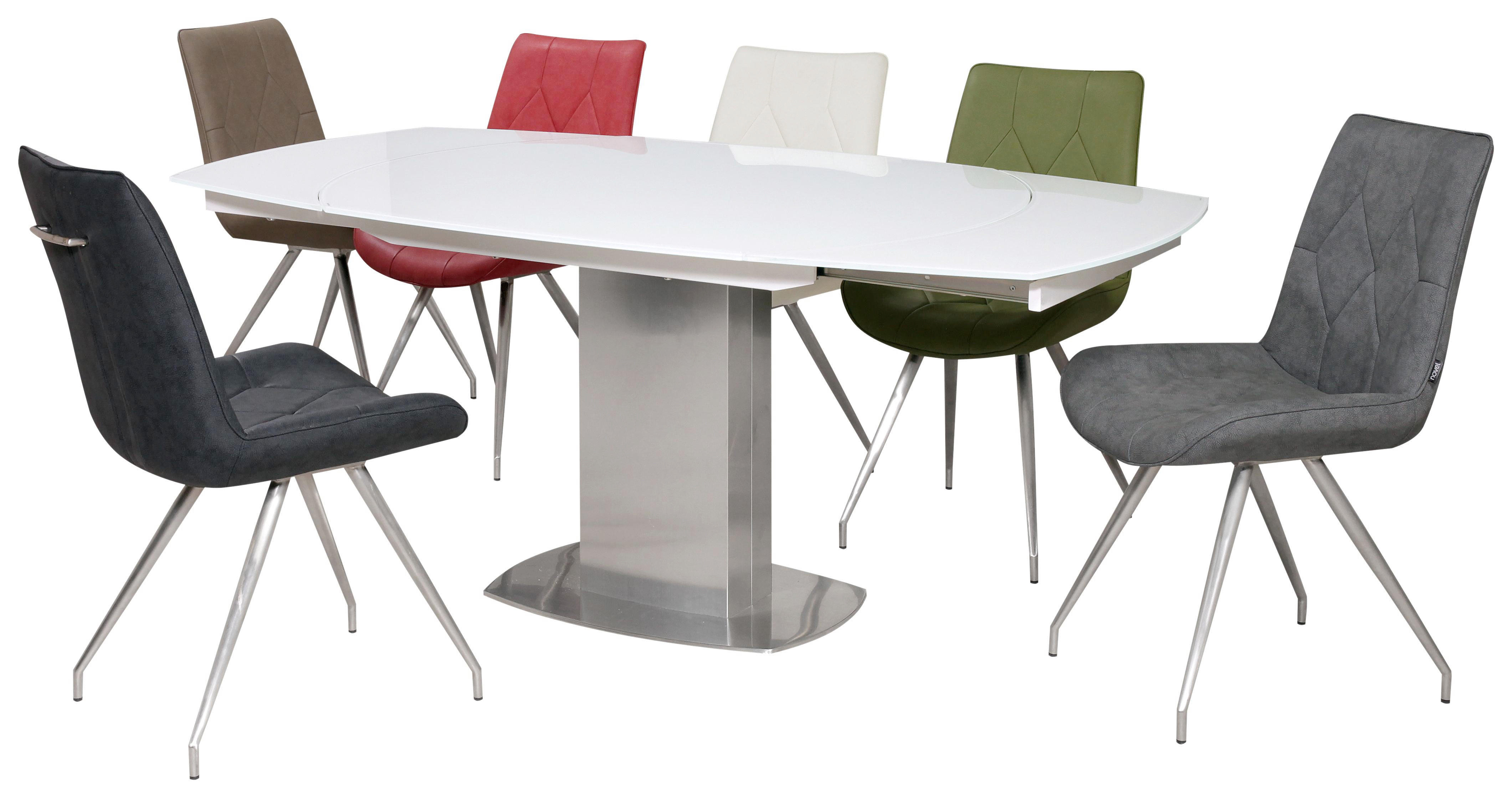 MATBORD - vit/rostfritt stål-färgad, Design, metall/glas (130/105/77cm) - Novel