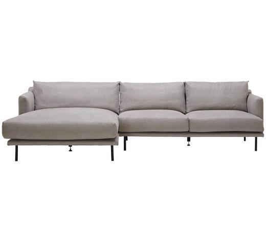 WOHNLANDSCHAFT in Textil Grau - Schwarz/Grau, Design, Textil/Metall (161/285cm) - Lomoco