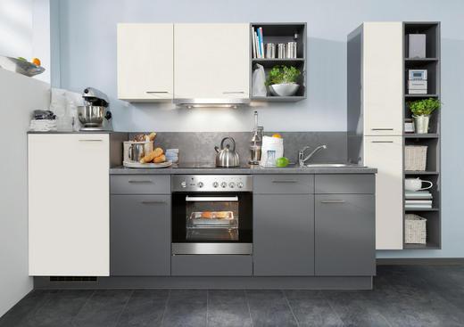 KÜCHENBLOCK E-Geräte, Soft-Close-System, Spüle - Weiß/Grau, KONVENTIONELL (320cm) - Welnova
