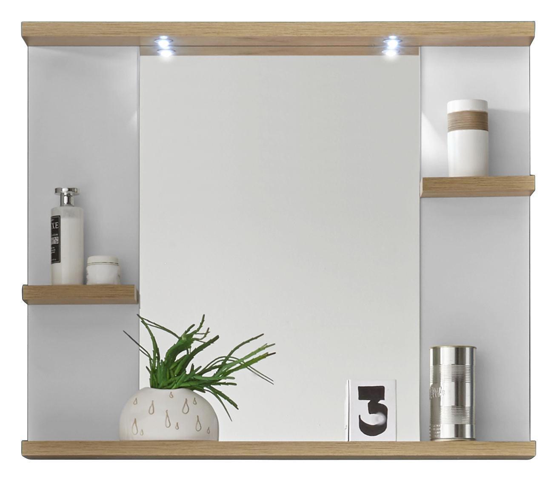SPIEGEL - Eichefarben/Weiß, Design, Glas/Holzwerkstoff (80/68/12cm) - XORA