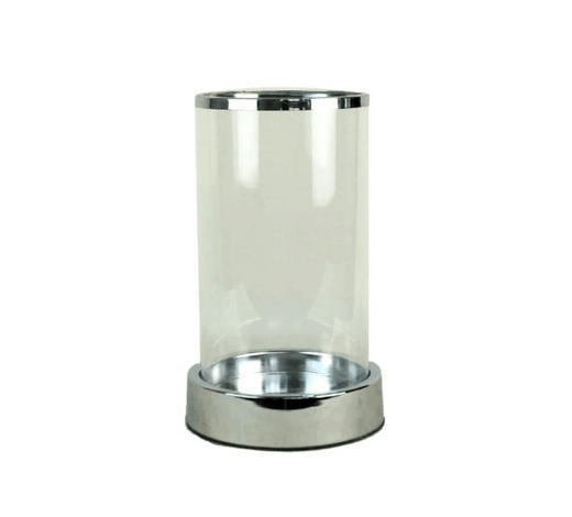 WINDLICHT - Klar/Silberfarben, Design, Glas/Metall (14,5/24,5cm) - Ambia Home