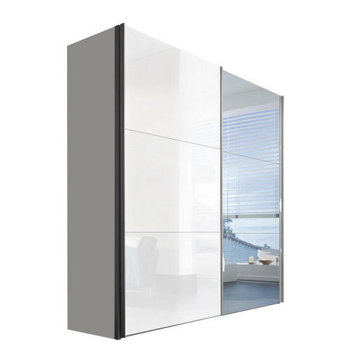 SCHWEBETÜRENSCHRANK 2-türig Weiß - Alufarben/Weiß, KONVENTIONELL, Glas/Holzwerkstoff (200/216/68cm) - Hom`in