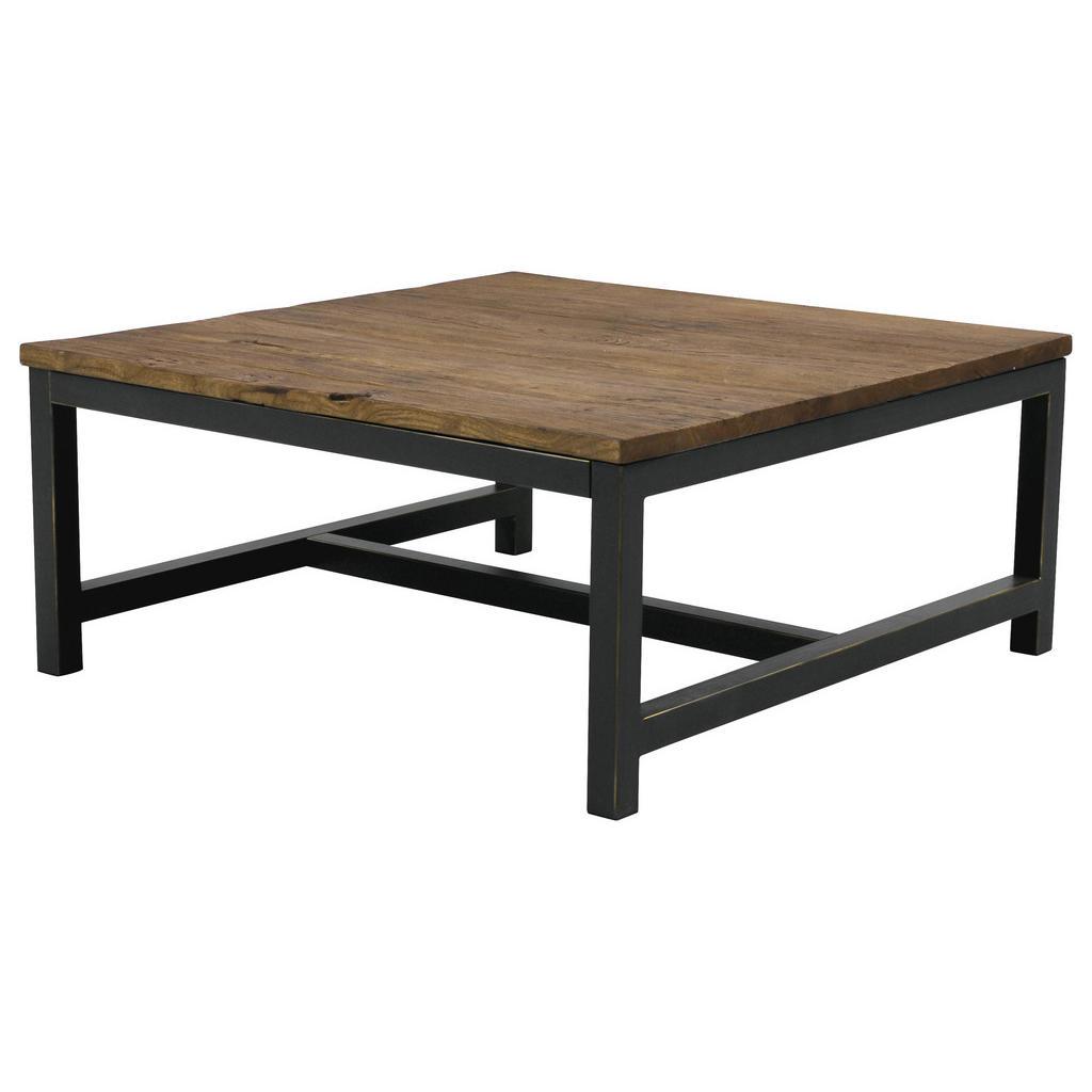 Quadratischer Sofatisch aus Altholz und Stahl