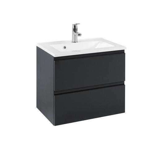 WASCHTISCHUNTERSCHRANK Graphitfarben - Graphitfarben/Weiß, Design, Holzwerkstoff/Stein (60/56/47cm) - Xora