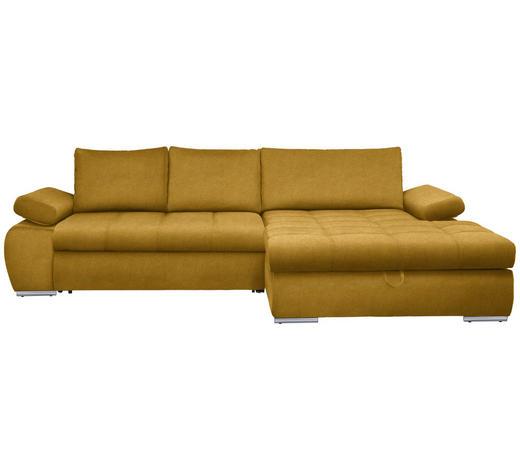 WOHNLANDSCHAFT in Textil Gelb  - Chromfarben/Gelb, Design, Kunststoff/Textil (294/173cm) - Carryhome