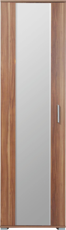 GARDEROBENSCHRANK Nussbaumfarben - Nussbaumfarben/Alufarben, Design, Glas/Holzwerkstoff (55/200/35cm) - CARRYHOME