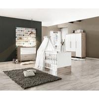 BABYKLEIDERSCHRANK - Eichefarben/Silberfarben, Basics, Holzwerkstoff/Metall (164/198,3/55,9cm) - PAIDI