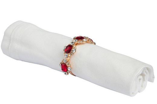 SERVIETTENRINGESET  4-teilig - Rot/Silberfarben, Trend, Kunststoff/Metall (6/6cm)