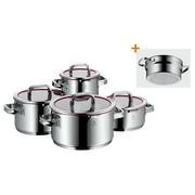 KOCHTOPFSET 5-teilig - Rot/Silberfarben, Design, Glas/Metall - WMF
