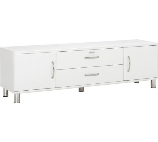 LOWBOARD lackiert, Melamin Weiß  - Weiß/Nickelfarben, Design, Metall (182/54/44cm) - Carryhome