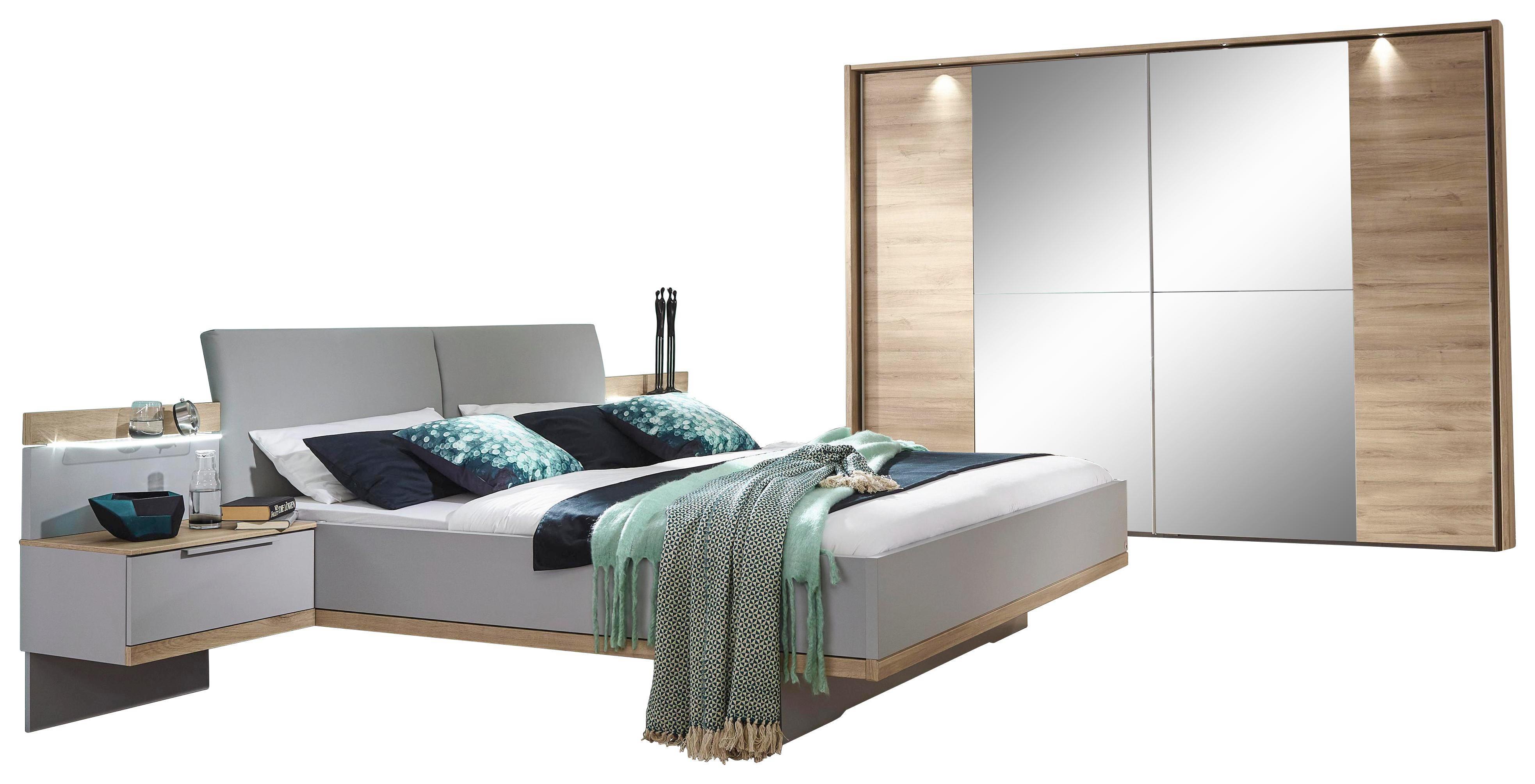 Schlafzimmer In Eichefarben, Grau   Eichefarben/Grau, Design,  Glas/Holzwerkstoff (
