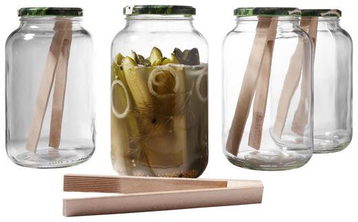 EINMACHGLAS-SET - Transparent, Glas/Metall
