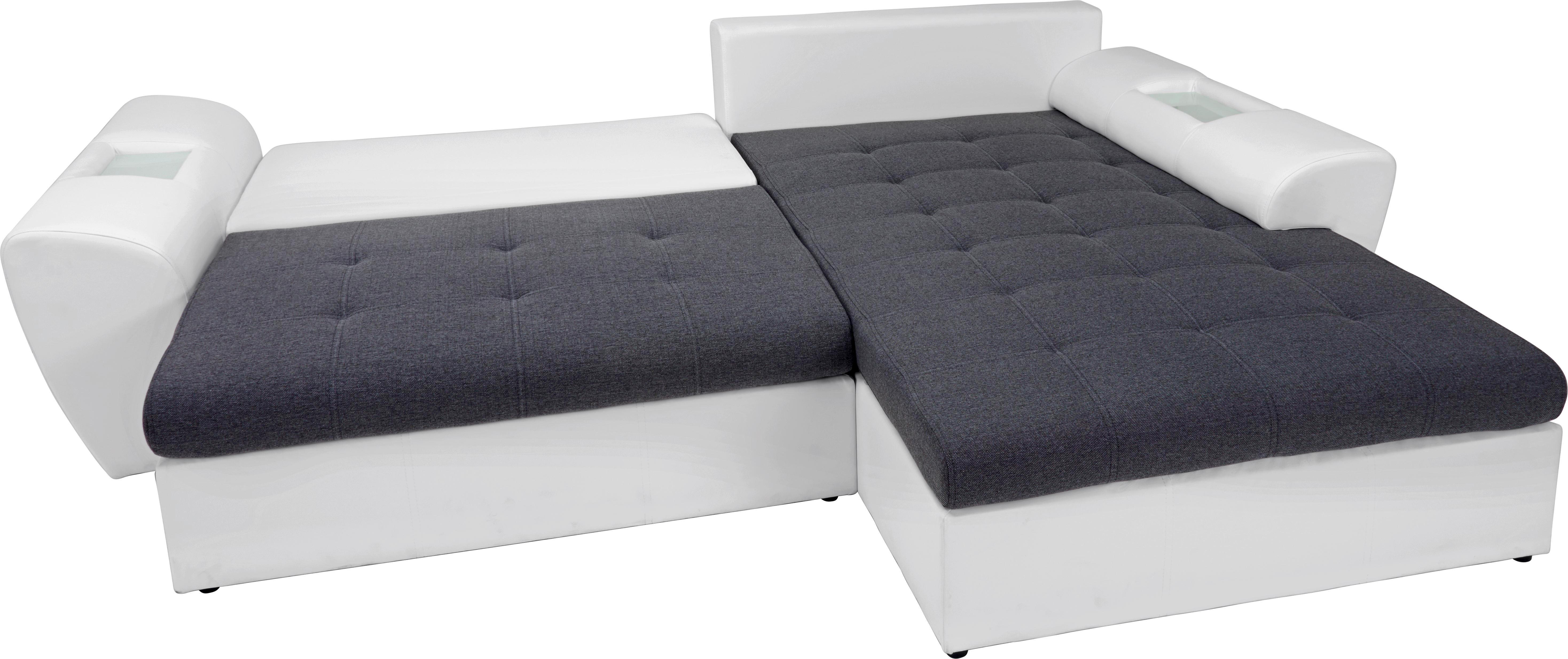 ECKSOFA Lederlook, Webstoff Ablage, Rückenkissen, Schlaffunktion - Anthrazit/Schwarz, Design, Kunststoff/Textil (204/290cm) - CARRYHOME