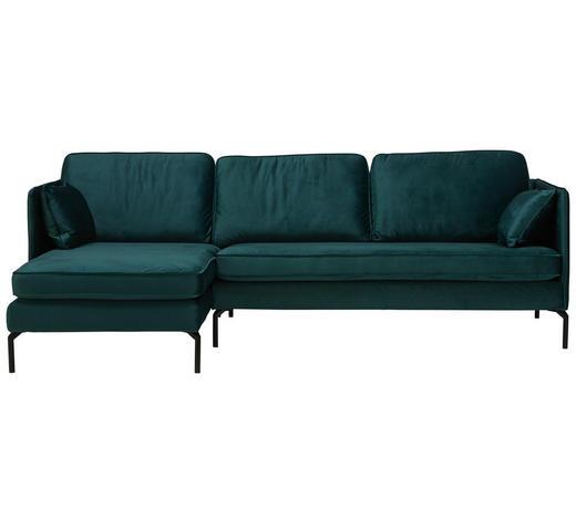 WOHNLANDSCHAFT in Textil Grün - Schwarz/Grün, Design, Textil/Metall (157/253cm) - Lomoco