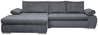 WOHNLANDSCHAFT in Textil Grau - Chromfarben/Grau, Design, Kunststoff/Textil (173/294cm) - Carryhome