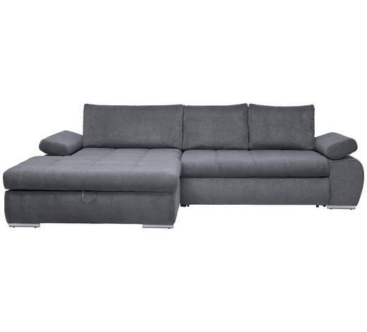 Wohnlandschaft in Grau Textil   - Chromfarben/Grau, Design, Kunststoff/Textil (173/294cm) - Carryhome