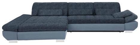 WOHNLANDSCHAFT in Textil Blau, Hellblau  - Chromfarben/Blau, Design, Kunststoff/Textil (204/341cm) - Xora