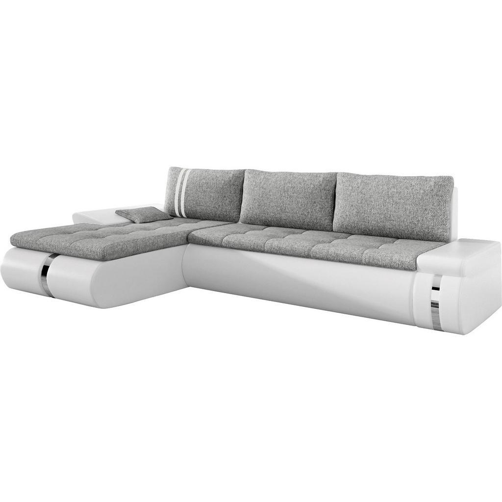 Carryhome Ecksofa Lederlook - Webstoff Bettkasten - Rücken echt - Rückenkissen - Schlaffunktion - Zierkissen - Weiß