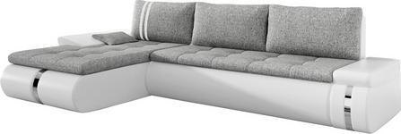 WOHNLANDSCHAFT in Textil Weiß, Hellgrau  - Hellgrau/Schwarz, KONVENTIONELL, Kunststoff/Textil (178/278cm) - Carryhome