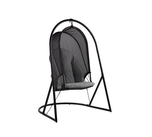 HÄNGESESSEL - Schwarz/Grau, Design, Textil/Metall (147/188/121cm) - Ambia Garden