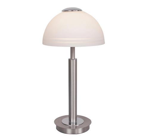 LED-TISCHLEUCHTE - Weiß/Nickelfarben, Design, Glas/Metall (16/29cm)