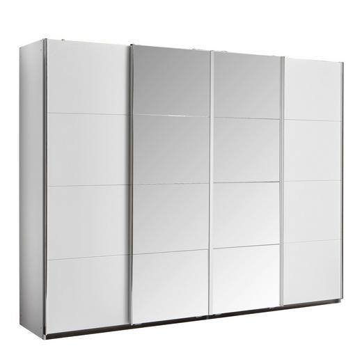 SCHWEBETÜRENSCHRANK 4-türig Weiß - Chromfarben/Weiß, Design, Glas/Holzwerkstoff (271/211/62cm) - Carryhome